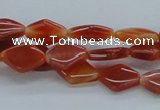 CAB500 15.5 inches 10*14mm hexagon red agate beads wholesale