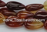 CAB504 15.5 inches 12*17mm flat teardrop red agate beads wholesale