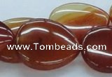 CAB505 15.5 inches 25*30mm flat teardrop red agate beads wholesale