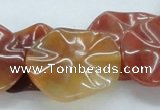 CAB513 15.5 inches 25*30mm lotus leaf red agate beads wholesale
