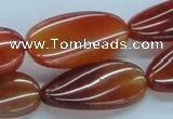 CAB515 15.5 inches 15*30mm twisted oval red agate beads wholesale