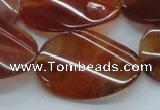 CAB516 15.5 inches 25*35mm twisted oval red agate beads wholesale