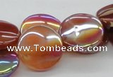 CAB527 15.5 inches 20mm coin AB-color red agate beads wholesale