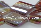 CAB543 22*28mm twisted & faceted diamond AB-color red agate beads