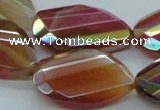 CAB544 22*30mm twisted & faceted teardrop AB-color red agate beads