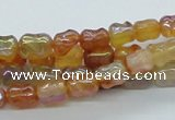 CAB547 15.5 inches 6*10mm bamboo-joint AB-color red agate beads