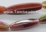 CAB551 15.5 inches 10*35mm faceted rice AB-color red agate beads