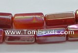 CAB552 15.5 inches 10*20mm six-sided cylinder AB-color red agate beads