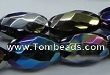 CAB557 15.5 inches 16*28mm faceted rice AB-color black agate beads