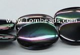 CAB559 15.5 inches 18*25mm oval AB-color black agate beads wholesale