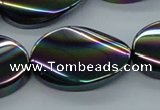 CAB560 15.5 inches 20*30mm twisted oval AB-color black agate beads