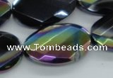 CAB562 20*30mm twisted & faceted oval AB-color black agate beads