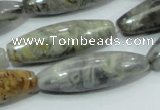 CAB565 15.5 inches 12*40mm rice silver needle agate gemstone beads