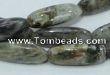 CAB566 15.5 inches 10*30mm rice silver needle agate gemstone beads