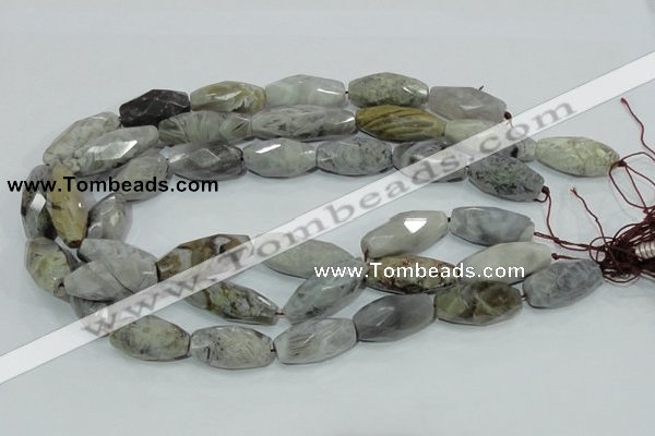CAB567 15.5 inches 15*28mm faceted rice silver needle agate beads