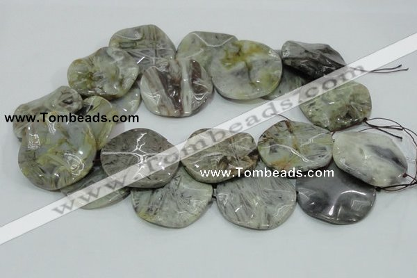 CAB572 15.5 inches 40mm wavy coin silver needle agate gemstone beads