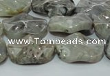 CAB574 15.5 inches 18*25mm wavy oval silver needle agate gemstone beads