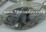 CAB577 15.5 inches 25*50mm wavy marquise silver needle agate beads
