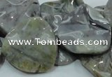 CAB579 15.5 inches 30*30mm wavy triangle silver needle agate beads