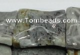 CAB587 15.5 inches 40*40mm wavy square silver needle agate beads