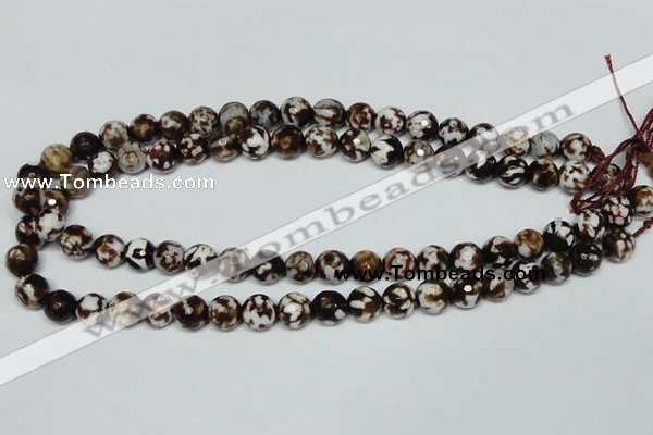 CAB616 15.5 inches 10mm faceted round leopard skin agate beads wholesale