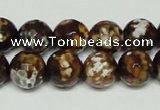 CAB617 15.5 inches 12mm faceted round leopard skin agate beads wholesale