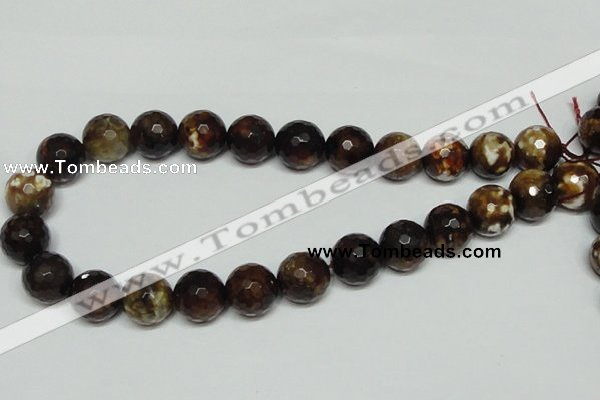CAB619 15.5 inches 16mm faceted round leopard skin agate beads wholesale