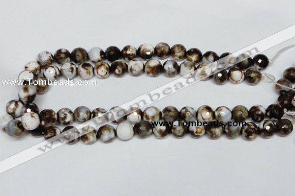 CAB620 15.5 inches 12mm faceted round leopard skin agate beads wholesale