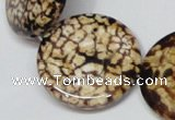 CAB631 15.5 inches 30mm flat round leopard skin agate beads wholesale