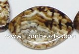 CAB638 15.5 inches 30*40mm marquise leopard skin agate beads
