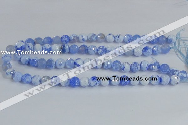 CAB650 15.5 inches 10mm faceted round fire crackle agate beads
