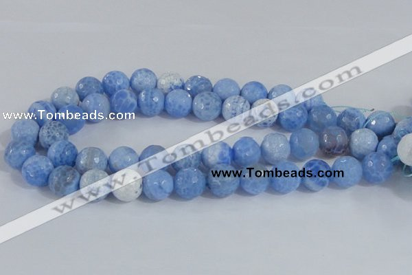 CAB652 15.5 inches 16mm faceted round fire crackle agate beads