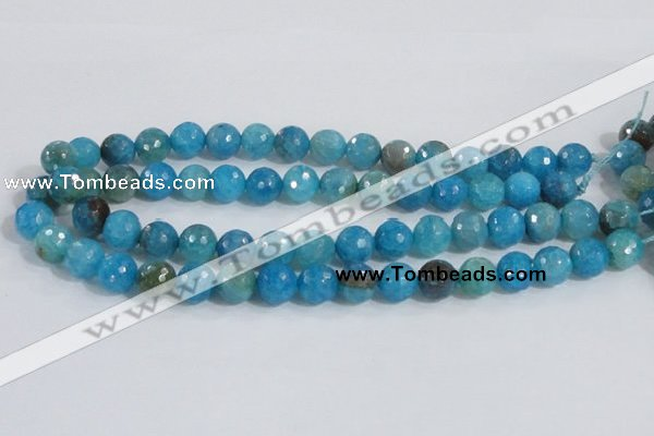 CAB654 15.5 inches 10mm faceted round fire crackle agate beads