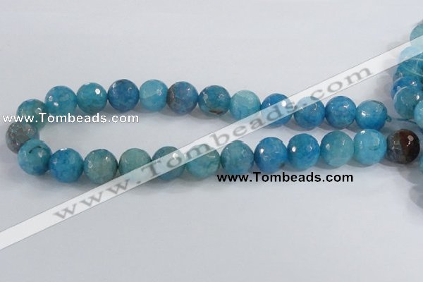 CAB657 15.5 inches 16mm faceted round fire crackle agate beads