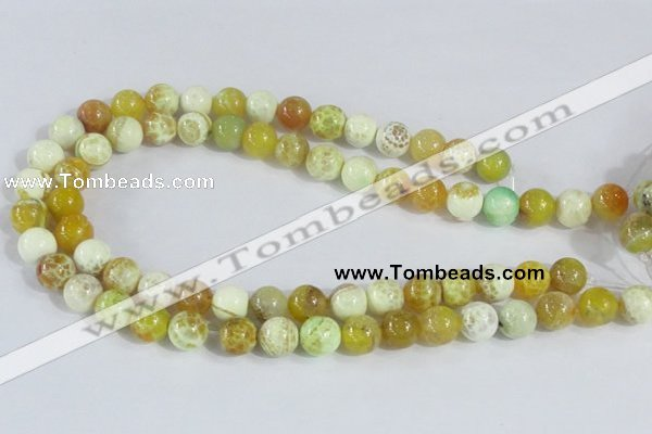 CAB661 15.5 inches 12mm round fire crackle agate beads wholesale