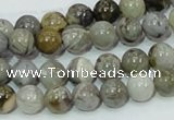 CAB67 15.5 inches 8mm round silver needle agate gemstone beads