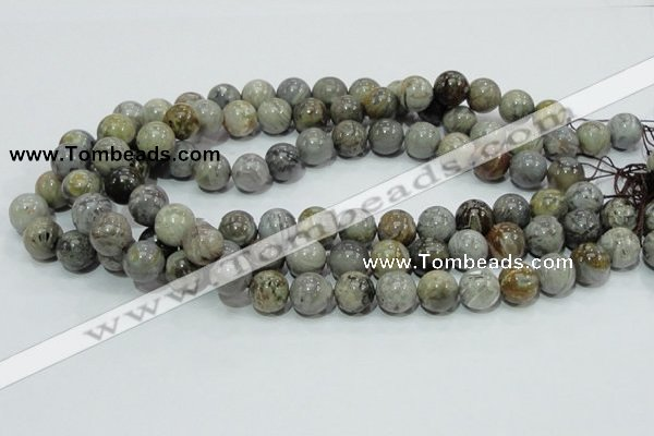 CAB68 15.5 inches 12mm round silver needle agate gemstone beads