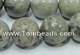 CAB71 15.5 inches 20mm round silver needle agate gemstone beads