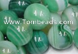 CAB718 15.5 inches 14mm round green agate gemstone beads wholesale