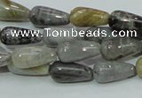 CAB72 15.5 inches 8*16mm teardrop silver needle agate gemstone beads
