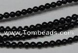 CAB721 15.5 inches 4mm round black agate gemstone beads wholesale