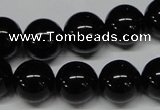 CAB727 15.5 inches 14mm round black agate gemstone beads wholesale
