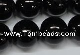 CAB729 15.5 inches 18mm round black agate gemstone beads wholesale