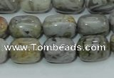CAB73 15.5 inches 12*16mm egg-shaped silver needle agate beads