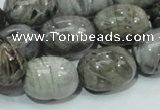 CAB74 15.5 inches 15*20mm egg-shaped silver needle agate beads