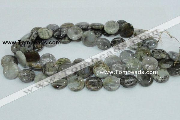 CAB76 15.5 inches 20mm flat round silver needle agate gemstone beads