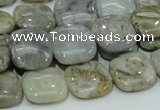 CAB78 15.5 inches 15*15mm square silver needle agate gemstone beads
