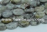 CAB79 15.5 inches 8*12mm oval silver needle agate gemstone beads