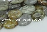 CAB81 15.5 inches 12*16mm oval silver needle agate gemstone beads