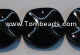 CAB827 15.5 inches 30mm wavy coin black agate gemstone beads wholesale